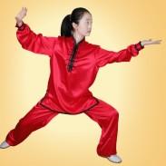 茜素红 木兰款 贡缎 太极服 太极服装(团体表演推荐)