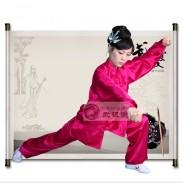 武极堂品牌玫红贡缎太极服 太极拳服装 练功服 男女同款--【玫瑰·惹火玫瑰】【推荐】