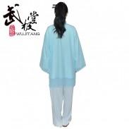 新款白色浅蓝边高弹麻+浅蓝色披纱 表演服套装两件套 太极服装 太极服 太极表演服 男女款 两件套装 【流云】【推荐】