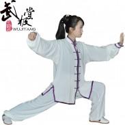 新款高弹麻白色镶边套装 太极服装 太极服 太极表演服 男女款