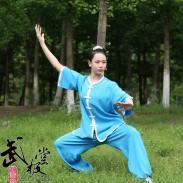 夏季太极服 高弹麻太极服装 七分袖福禄扣蓝色白边 女款夏装