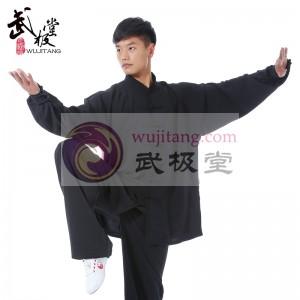 精品黑色高弹麻太极服 太极练功服 太极表演服--纯粹经典-武极堂品牌