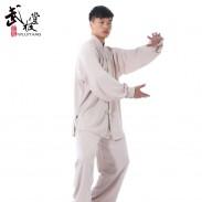武极堂灰色高弹麻太极服 太极拳服装 练功服推荐(男女款)