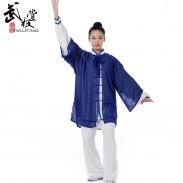新款白色宝蓝边高弹麻宝蓝披纱表演服套装三件套 太极服装 太极服 太极表演服 【流锦】