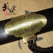 高档沈广隆太极剑 手工乾坤太极剑 花纹钢 黑檀木剑鞘 未开刃
