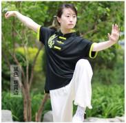 太极拳T恤 武术T恤 丝光棉 黑色加果绿边