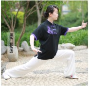 最新太极拳T恤 武术T恤 短半袖 丝光棉 透气 黑色加紫色边
