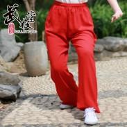 新麻纱太极裤练功裤夏季大红色