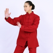 武极堂加绒竹节麻太极服女春夏秋冬练功服武术太极拳服装中老年